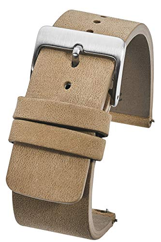 Genuine Suede Leather Thick Flat Watch Strap with Quick Release Spring Bars - Beige - 22mm (fits Wrist Sizes 6 to 7.5 inch)
