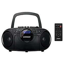 Koramzi Portable CD Boombox Full Range Stereo Sound System w/Top-Loading MP3 CD Player, Cassette Player and Recorder, AM/FM Radio, USB Input, Headphone & AUX Jack w/Remote Control- CD705CBK(Black)