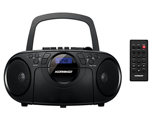Koramzi Portable CD Boombox Full Range Stereo Sound System w/Top-Loading MP3 CD Player, Cassette Player and Recorder, AM/FM Radio, USB Input, Headphone & AUX Jack w/Remote Control- ()