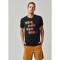 T-shirt manga curta silk trovão tropical PRETO