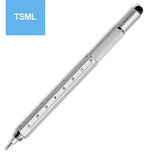 Metal Multi tool Pen 6-in-1 Stylus Pen Blue ink - With Screwdriver, Phillips Flathead Bit, Ballpoint Pen, Stylus pen, Bubble Level and Ruler - By TSML (5 packs) by TSML (Image #5)