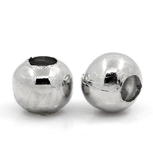 Housweety Bijoux 1000 Perles intercalaire spacer Rond 3mm Dia.