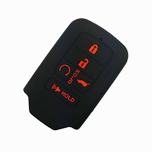 Coolbestda Silicone Key Fob Cover Case Skin Jacket for 2019 2018 2017 2016 2015 Honda Accord Civic CR-V CRV Pilot EX-L Touring Premium 5 Buttons Smart Key Black