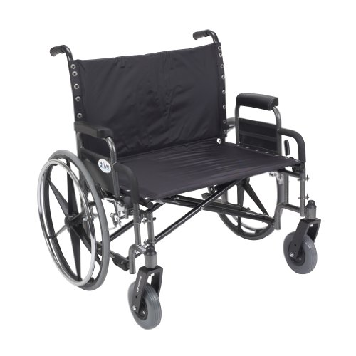 Drive Medical Sentra Heavy Duty Wheelchair with Various Arm Styles, Chrome, 30