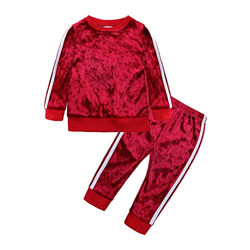Mary ye 2Pcs Fashion Toddler Baby Girl Velvet Sweatshirt Tops Pant Set Tracksuit Red