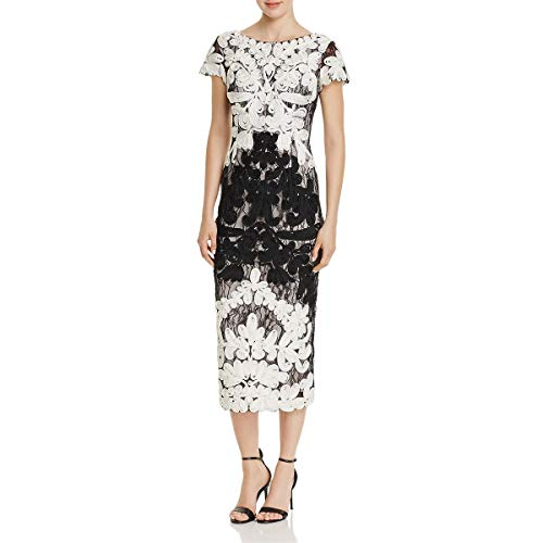 JS Collection Women's Short Sleeve Embroidered Midi, Ivory/Black, 6