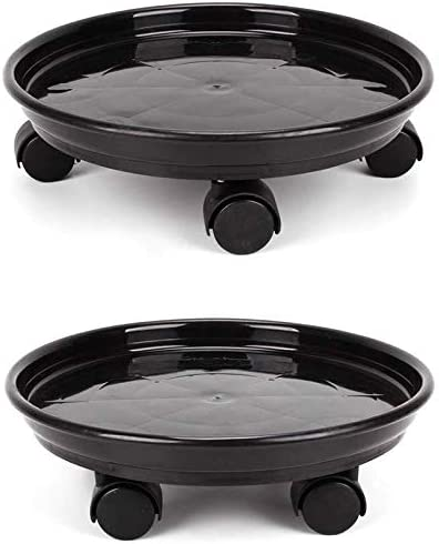 with Universal Wheels for Indoor and Outdoor Home Gardens Round Potted Plant Stand with Wheels 11.8 Inches Heavy Pot Rack Trolley Cart Tray Tray ACAMPTAR 2 Packs of Plant Caddies