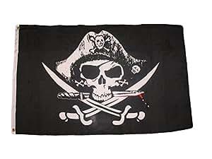 2X3 Pirata Muertos pecho Super Poliéster Nylon Bandera 2 x 3 ft (60 x 90 cm) Casa Banner Arandelas Doble Costura Resistente a la decoloración Premium Calidad