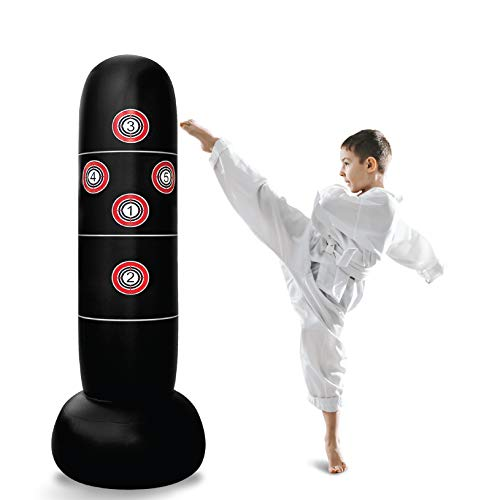Inflatable Punching Bag – Freestanding Kid's Boxing Bag – Practice Target Columns, Durable PVC Material – Relaxing…