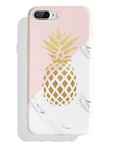 J.west iPhone 8 Plus Case, iPhone 7 Plus Case, Marble Design Clear Bumper Matte TPU Soft Rubber Silicone Cover Anti-ScratchThin Back Protective Phone Case for Apple iPhone 7 Plus / 8 Plus Pink Gold