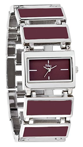 M&c Women's   Sophisticated Modern Burgundy Watch with, used for sale  Delivered anywhere in USA