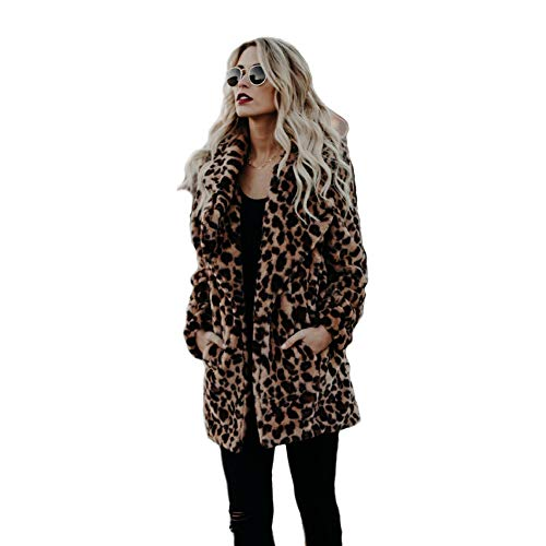 XIANIWTA Women's Winter Long Sleeve Coat Faux Fur Overcoat Plus Size Fluffy Top Jacket Leopard (XL)