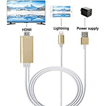Lightning to HDMI Cable, Mirroring iphone/ ipad Screen to TV/Projector/Monitor Adapter Cable, 1080P Digital AV Adapter for IOS devices (Luxury Gold)