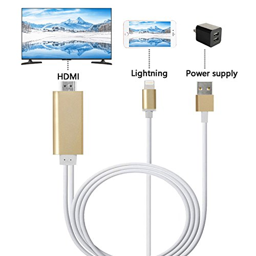 Lightning To Hdmi Cable  Mirroring Iphone  Ipad Screen To Tv Projector Monitor Adapter Cable  1080P Digital Av Adapter For Ios Devices  Luxury Gold