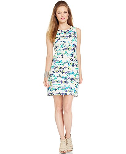Vince Camuto Womens Tribal Print Jeweled Party Dress Multi 14 ()