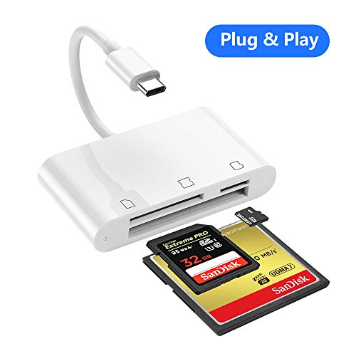 SD Card Reader, RayCue 3 in 1 USB Type C to SD/Micro SD/CF Card Reader, USB C CompactFlash Card Trail Game Camera Card Reader for New iPad Pro 11/12.9 2018, MacBook Pro and More UBC C Device