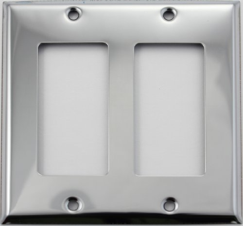Double Chrome Plate (Polished Chrome Two Gang GFI/Rocker Opening Wall Plate)