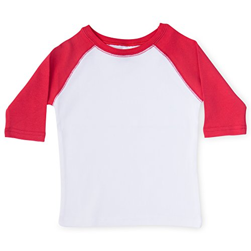 (The Laughing Giraffe By David Toddlers Raglan Baseball T-Shirts - for Boys & Girls - Blank Shirts, Great for Customization (White/Red),3T)