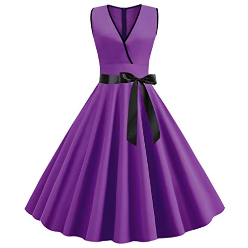 Sunhusing Women's Vintage Solid Color V-Neck Sleeveless Ribbon Lace-Up Waist-Tie Evening Party Gown Dress Purple ()