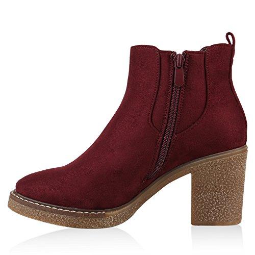 Stiefelparadies Klassische Damen Stiefeletten Lack Block Absatz Leder-Optik Flandell Dunkelrot Basic