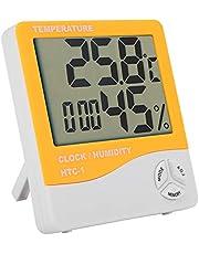 Hygrometer Klok LCD Digitale Gauge Vochtigheidsmeter Digitaal voor Home Office Greenhouse Indoor Garden(Orange)