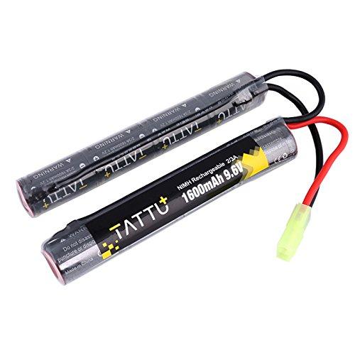 (Tattu 9.6V NiMH Battery 1600mAh Butterfly Nunchuck Stick Rechargeable Battery Pack with Tamiya Connector for Airsoft Gun ICS CA TM SRC JG G36 G&M733)