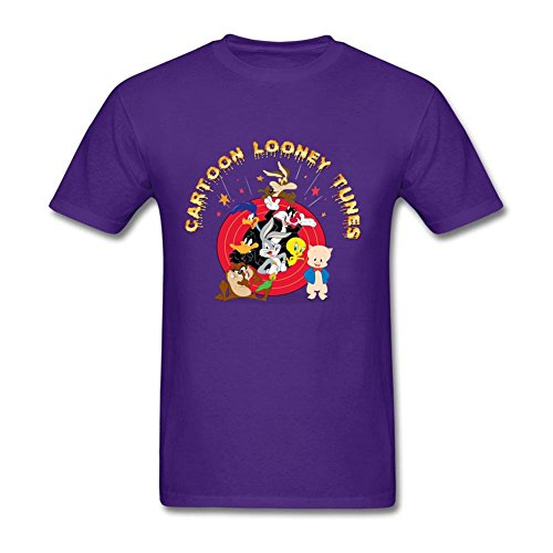 [Swag Men's Cartoon Looney Tunes Charactors 100% Cotton Short Sleeve T Shirt Purple XXL Custom Made] (Pinky Brain Costume)