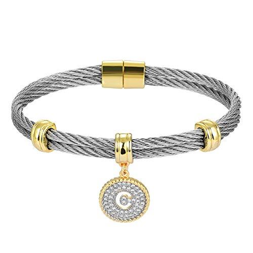 "BIJOUX BOBBI [Luxury Packaging] ""Alphabets"" Cubic Zirconia Twisted Wire Initial Bracelets - A4168BXK-C"