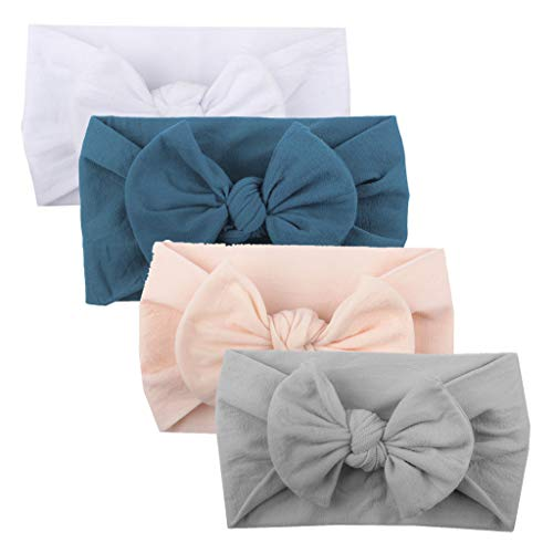 Orcbee  _4Pcs Baby Girls Toddler Headband Turban Solid Hair Band Bow Accessories Headwear (A)