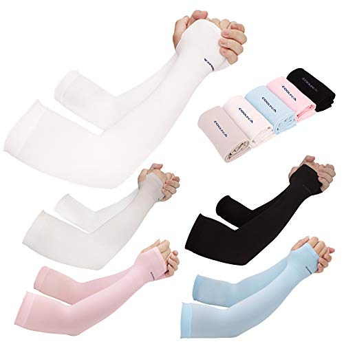 - Achiou 5 Pair Cooling Arm Sleeves UV Sun Protection for Men Women Sunblock Cooler Protective Outdoor Sports Gloves Long Arm Cover (5 Color Mix)