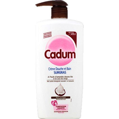 Cadum - Crème douche et bain surgras, Huiles d'amandes douces bio et de coco bio vierge, Peau prot{g{e - La pompe de 750ml - (pour la quantité plus que 1 nous vous remboursons le port supplémentaire)