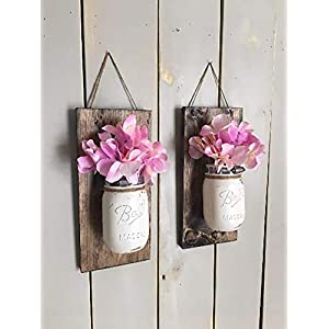 Floral wall sconce, Individual mason jar sconce, flower vase mason jar, rustic decor, painted mason jar, floral wall sconce 41