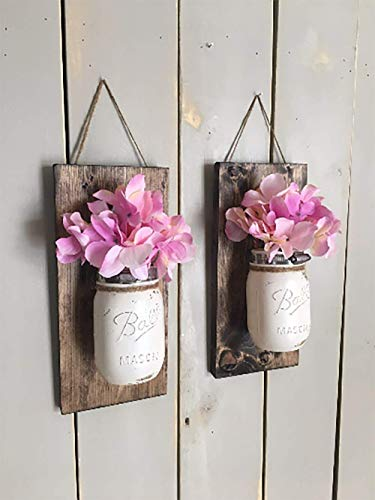 Floral wall sconce, Individual mason jar sconce, flower vase mason jar, rustic decor, painted mason jar, floral wall sconce - Cottage Garden Wall Vase
