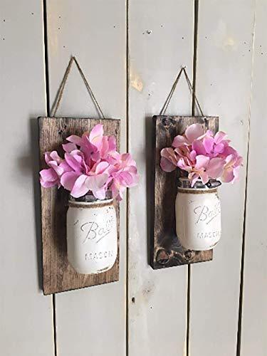 Floral wall sconce, Individual mason jar sconce, flower vase mason jar, rustic decor, painted mason jar, floral wall sconce