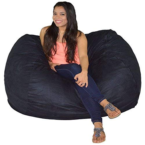 Black Patent Bean Bag - Cozy Sack Bean Bag Chair 5' with 29 Cubic Feet of Premium Foam Inside a Protective Liner Plus Removable Machine Wash Microfiber Cover