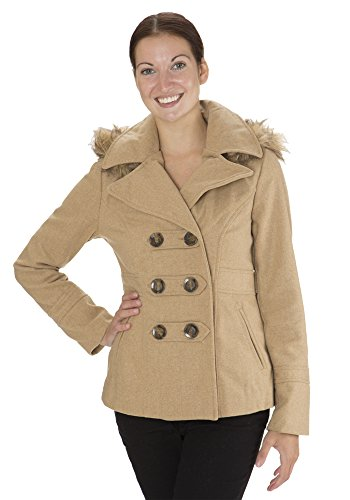 UPC 789828033871, (8002) Dollhouse Classic Faux Wool Double Breasted Pea Coat with Fur Trim Hood in Caramel Size: 2X