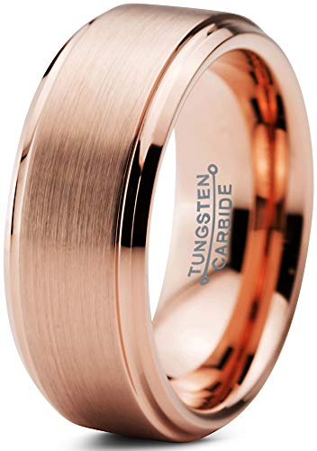 Charming Jewelers Tungsten Wedding Band Ring 8mm Men Women Comfort Fit 18k Yellow Rose Gold Black Step Bevel Edge Brushed Polished