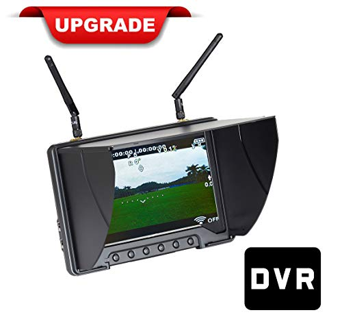 """Flysight Black Pearl RC801 FPV Monitor with DVR 5.8Ghz 40CH 7"""" HD Screen Diversity Receiver 1024x600 Monitor with Integrated Battery and Sunshade Hood for DJI Phantom (RPSMA ANT)"""