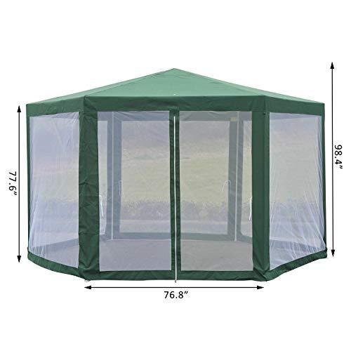 MRT SUPPLY Patio Gazebo Netting Canopy Garden Party Tent Steel Outdoor Green with - Garden Gazebo Party Green