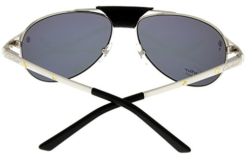 cbf167e4be26f Cartier Edition SANTOS-Dumont Sunglasses Mens Pale Silver Polarized  T8200891 58