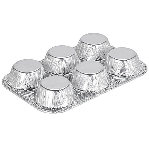 Pack of 20 Silver Foil Muffin Pans – Durable & Non-Stick Disposable Aluminum 6-Cup Cupcake Trays – Perfect Tin Size for Cupcakes, Mini Pies, Mini Quiche, Soufflé - Standard Size by DCS Deals (Image #2)