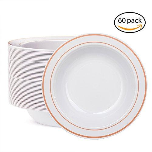 WDF 60pcs Disposable Plastic Bowls-12 oz Soup Bowls - Rose Gold Trim Real China Design - Premium Heavy Duty Plastic Plates for Wedding/Parties(12oz Bowl) (12OZ Soup (Bowls Soup Bowls)