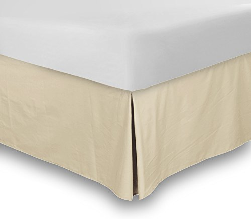 Bed Skirt (Queen, Beige, 15 Inch Fall) - Hotel Quality, Iron Easy, Quadruple Pleated , Wrinkle and Fade (Queen Bed Sheets Beige)