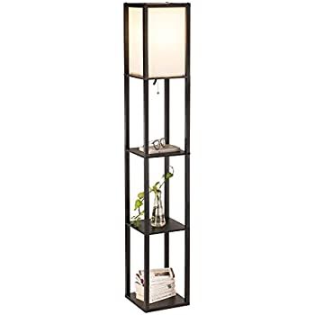 Co Z Floor Standing Lamp With 3 Storage Display Wood Shelves For