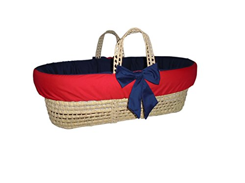 Baby Doll Bedding Reversible Moses Basket Bedding Set, Navy Red
