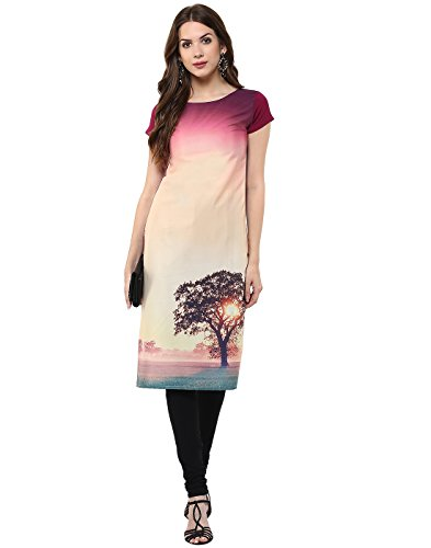 Janasya Women's Multi-Color Casual Crepe Kurti – Small