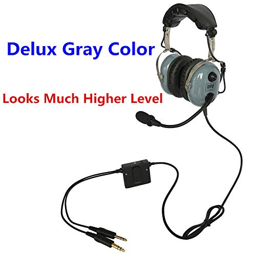 (UFQ A28 Delux Gray Color Great ANR Aviation Headset Active Noise Reduction-Compare with Rugged Air RA950 BUT UFQ A28 with Mp3 Input Bose Grade Hi-Fi Sound for Music and Free with a Headset Bag)