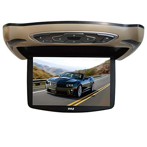 Car Overhead Screen Display Monitor - 13.3 inch LCD Vehicle Flip Down Roof Mount Console - HDMI TV Player Control Panel with Built-in IR Transmitter for Wireless IR Headphone - Pyle PLRD146