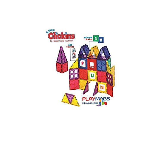Playmags 100 Piece Super Set: With Strongest Magnets Guaranteed, Sturdy, Super Durable with Vivid Clear Color Tiles. 18-piece Clickins Accessories to Enhance your Creativity by Playmags (Image #2)
