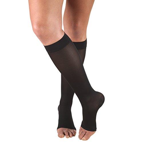 Truform Sheer Compression Stockings, 15-20 mmHg, Women's Knee High Length, Open Toe, 20 Denier, Black, Small